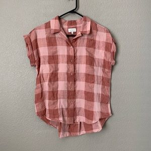 Lucky Brand Red Gingham Plaid Shirt Small